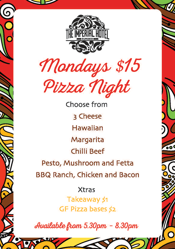 Mondays $15 Pizza Night