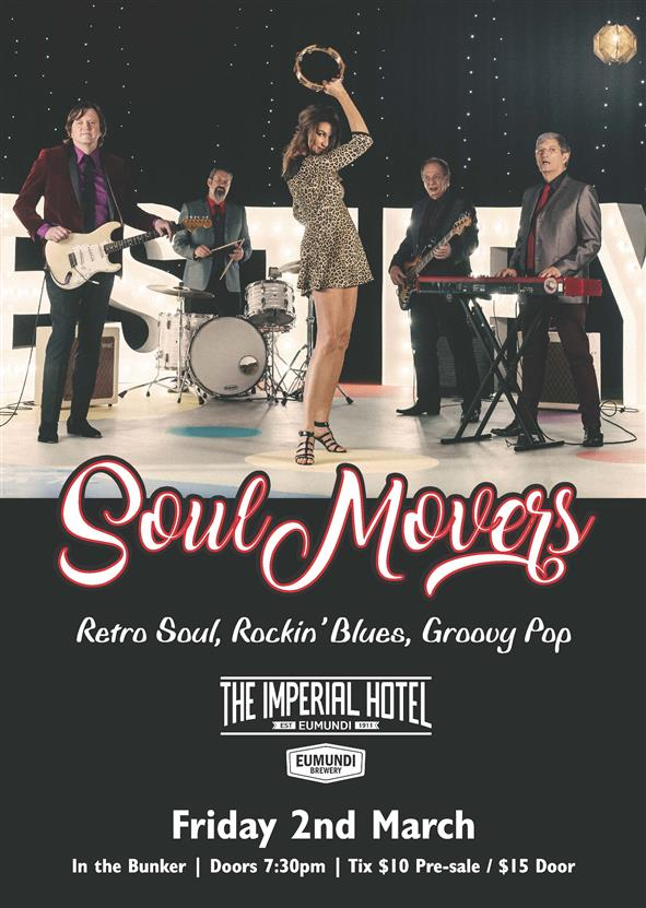 SOUL MOVERS, Friday 2 March, Doors 7.30pm