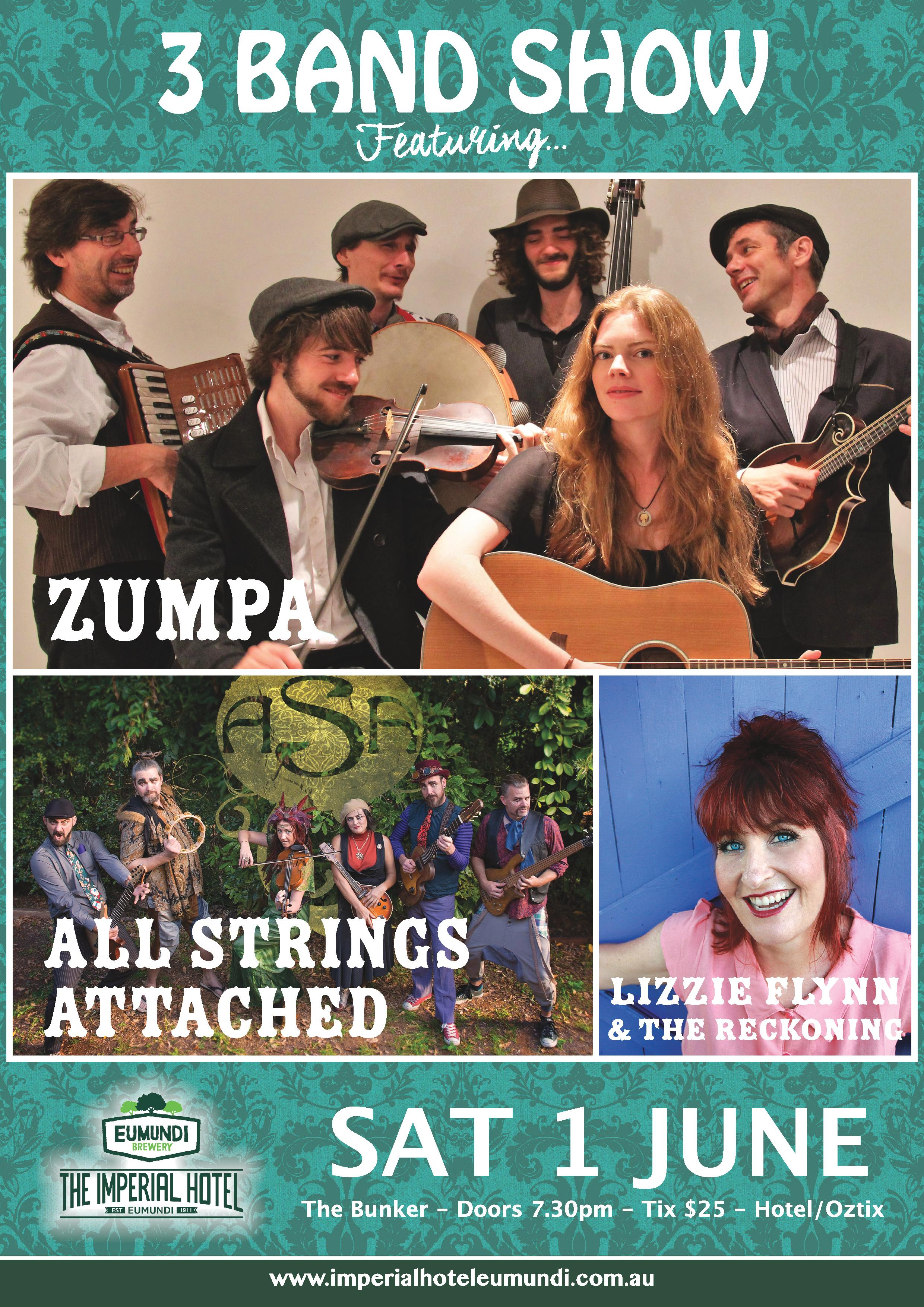 3 BAND SHOW - Zumpa, All Strings Attached + Lizzie Flynn & The Reckoning